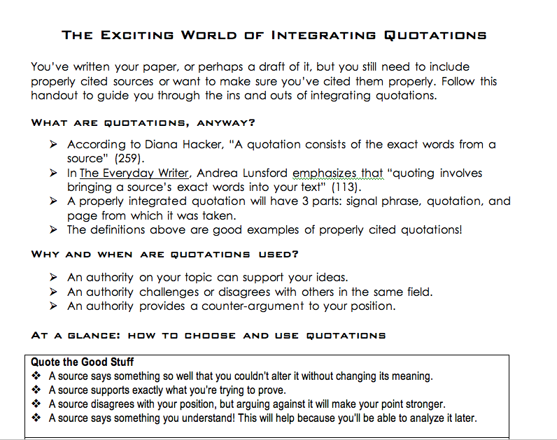 doc3 Writing Handouts – Integrating Quotes Worksheet
